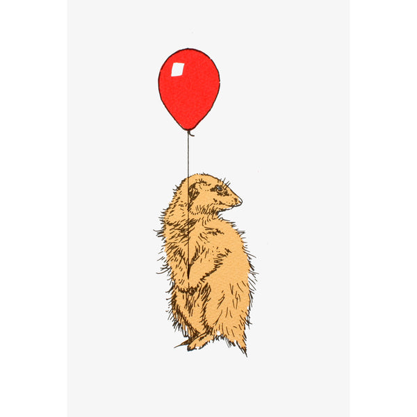 Meerkat With Balloon Red Print