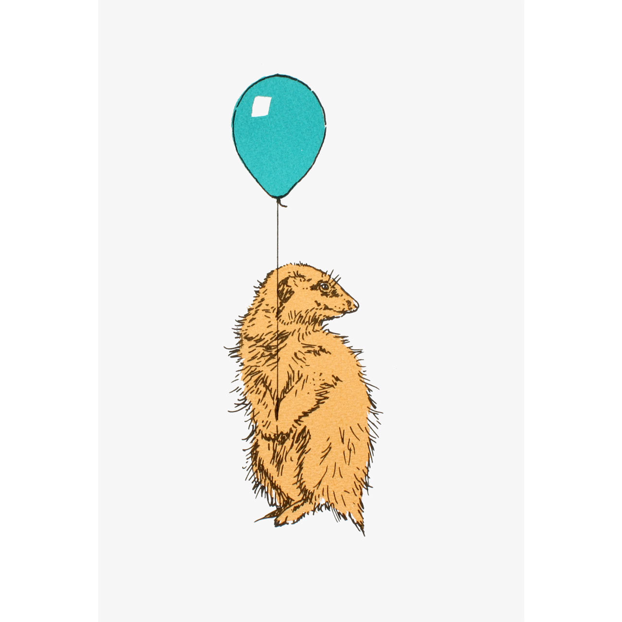 Meerkat With Balloon Turquoise Print