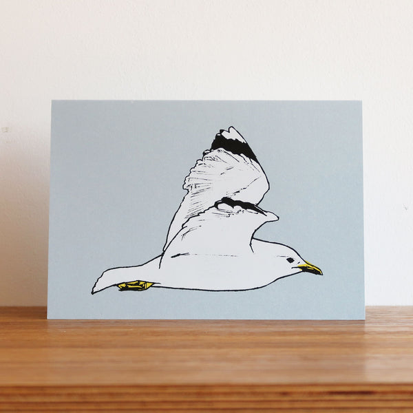 Seagull in Flight Metallic Blue Card