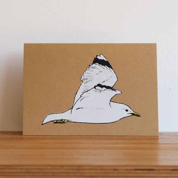 Seagull in Flight Kraft Card