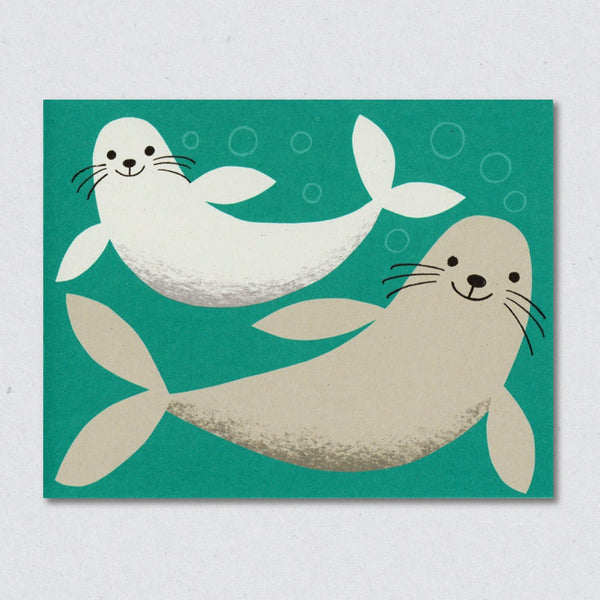 Seals greeting card by Lisa Jones Studio