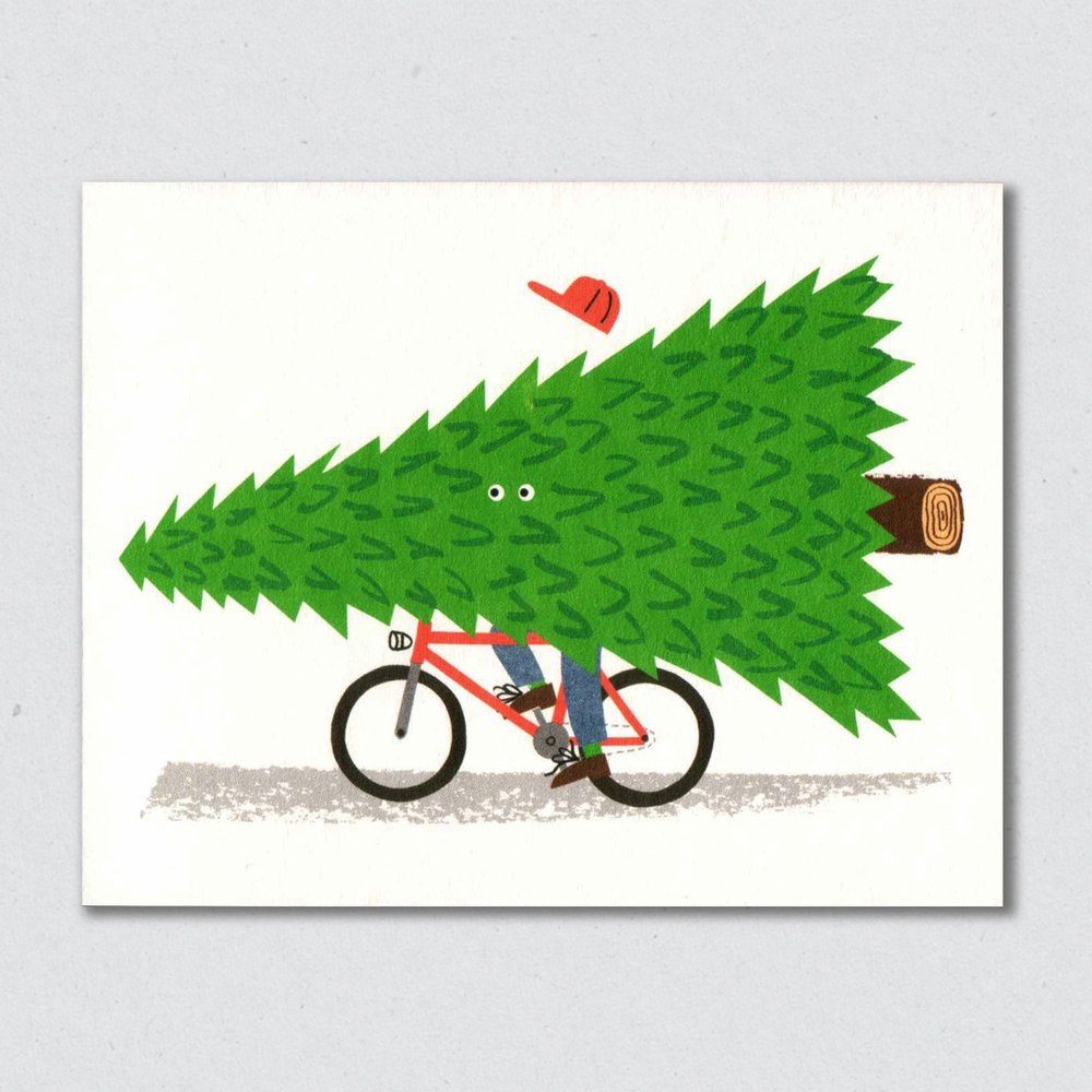 Seasonal Cyclist Christmas Card