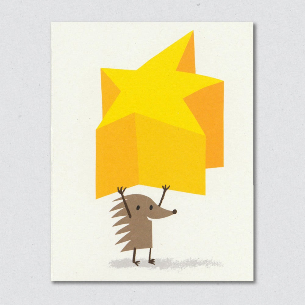 Superstar Hedgehog greeting card by Lisa Jones Studio