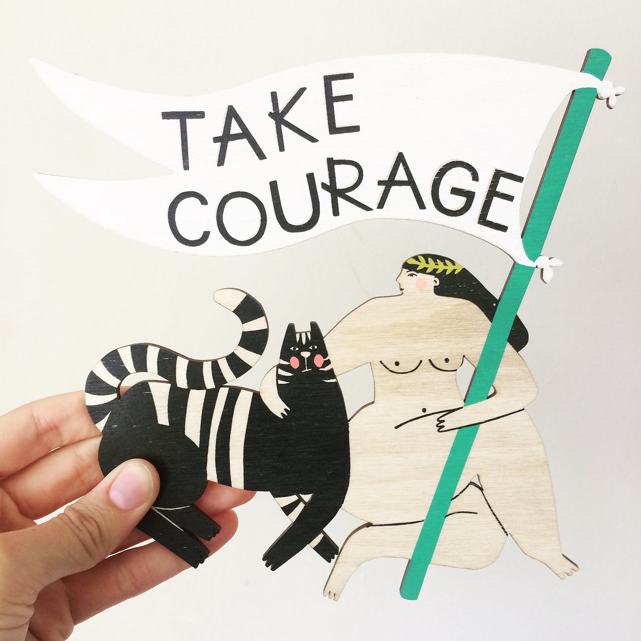 Laser cut and screen printed 'Take Courage Motivational Lady' by Fiona Biddington aka Paper Argonauts at Soma Gallery