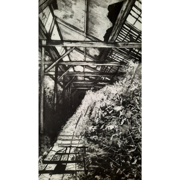Tonedale Mill etching by Jemma Gunning at Soma Gallery, Bristol