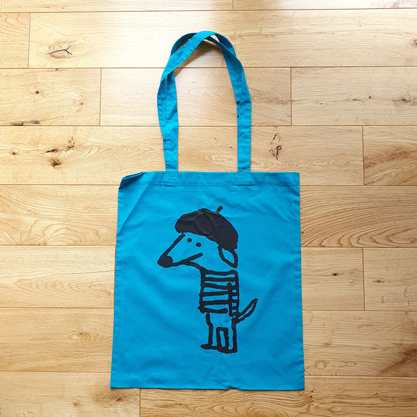 Beret Dog Turquoise Tote - One Off Sample