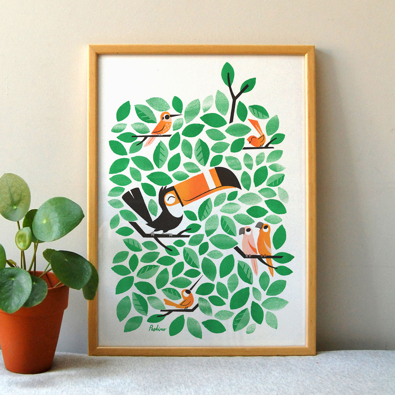 Toucan Tweets riso print by Peskimo