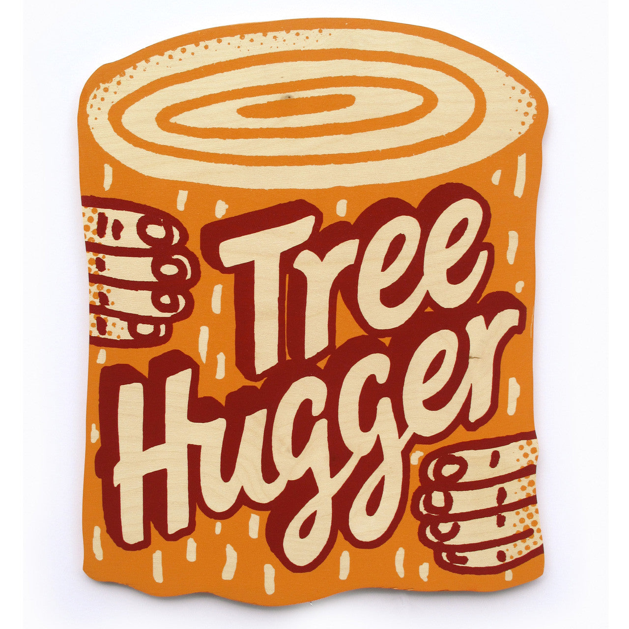Tree Hugger print on wood by Andy Smith