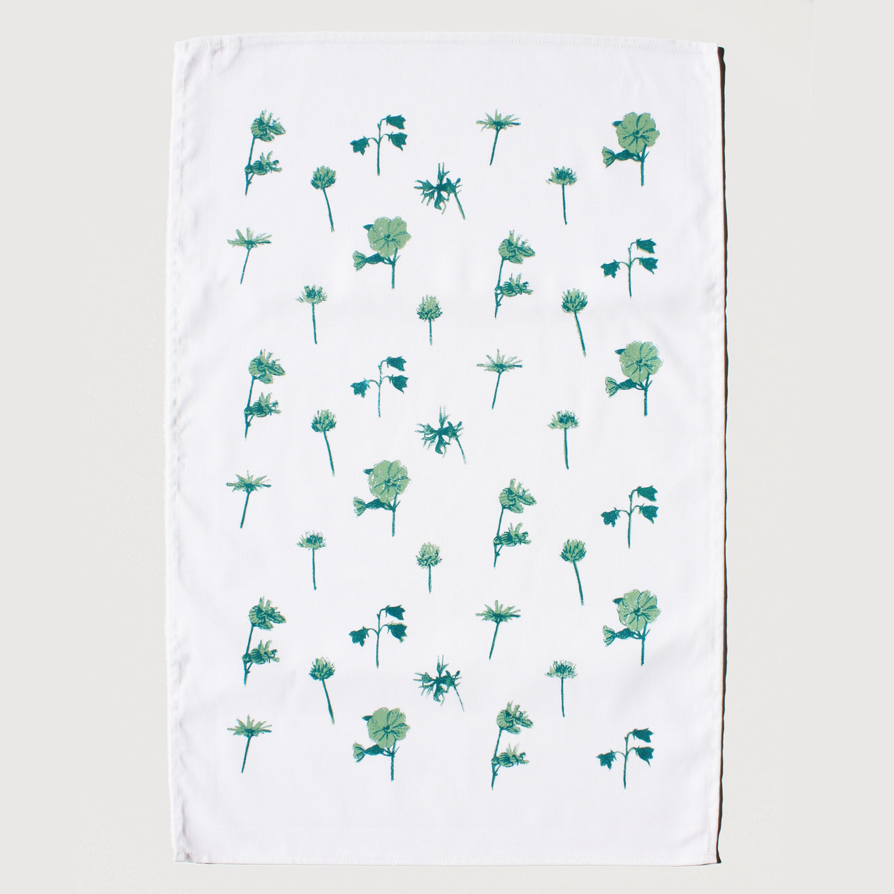 Wild Flowers Green Tea Towel