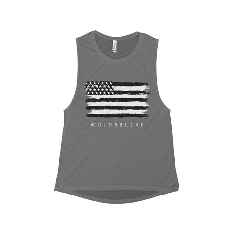 BLACK & WHITE AMERICAN FLAG - Women's Muscle Tank