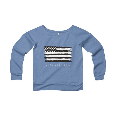 BLACK & WHITE AMERICAN FLAG - Women's Wide Neck Sweater