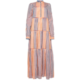 LONG WIDE COTTON-SILK DRESS WITH CHECKERED PRINT von an an londree