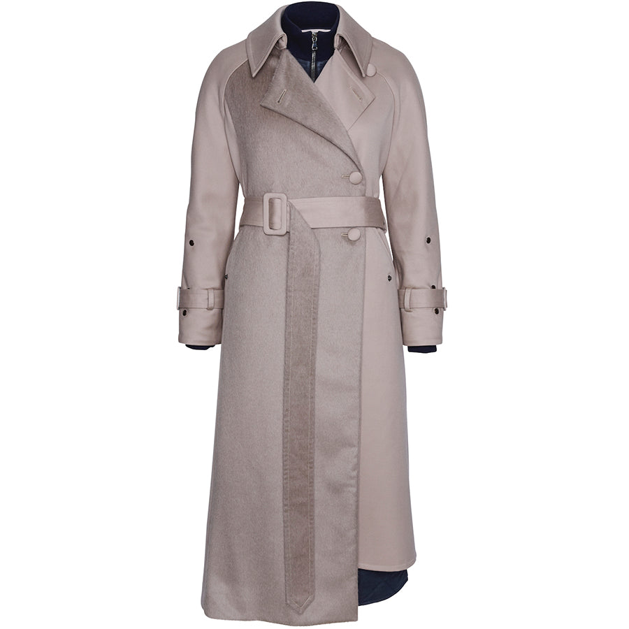 FASSBENDER: Trenchcoat in grau mit Taillen-Gürtel für Damen, handcrafted, fair, zero-waste, eco-friendly - the wearness online-shop