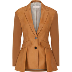 FASSBENDER blazer, tobacco, vegan leather, women, sustainable, fair