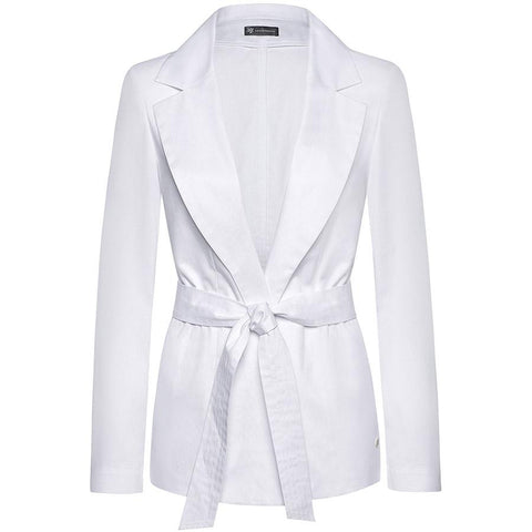 ARMARGENTUM: Blazer in weiß für Damen, Bindegürtel, fair, organic, umweltfreundlich, vegan, made in europe, handgefertigt - the wearness online-shop