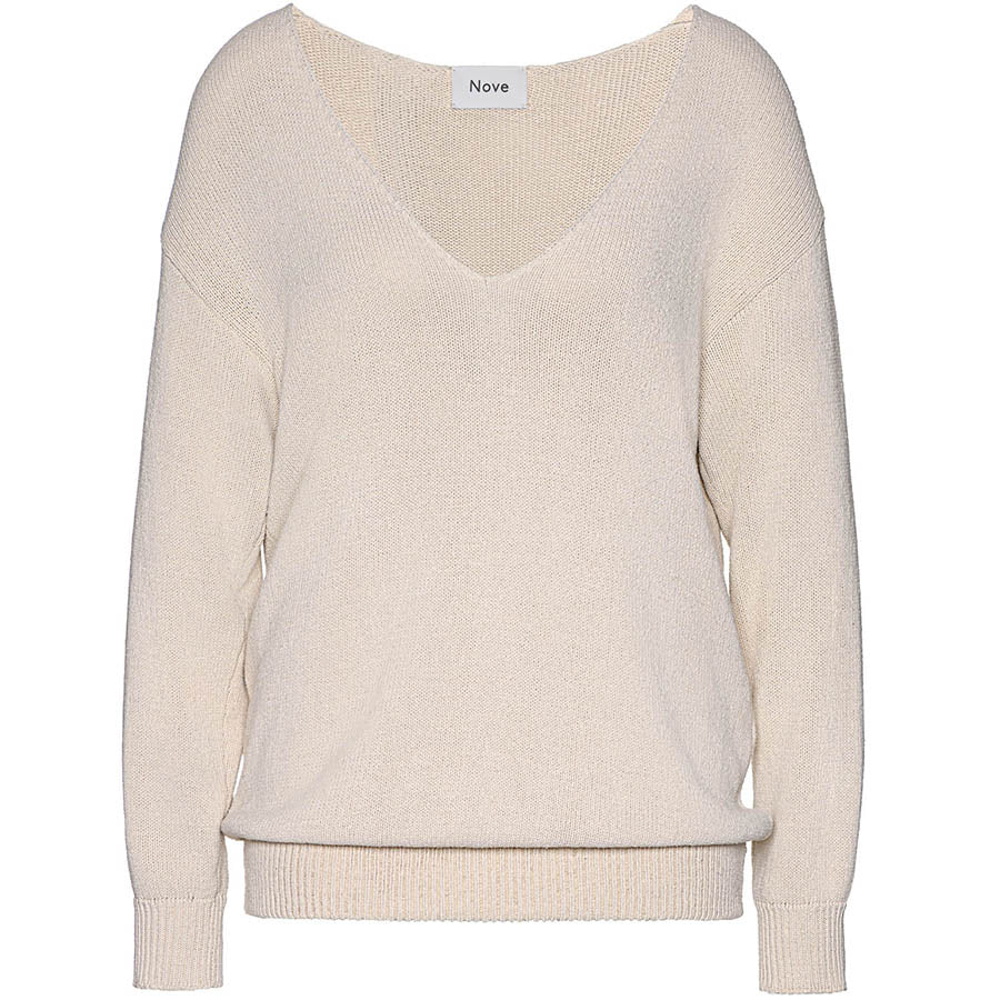 NOVE Beige Sweater mit abnehmbaren Kragen für Damen, moderne Umstandsmode, fair, made in Europe, eco-friendly, women empowerment - the wearness online-shop