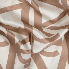 PRINTED SILK SCARF IN CAMEL