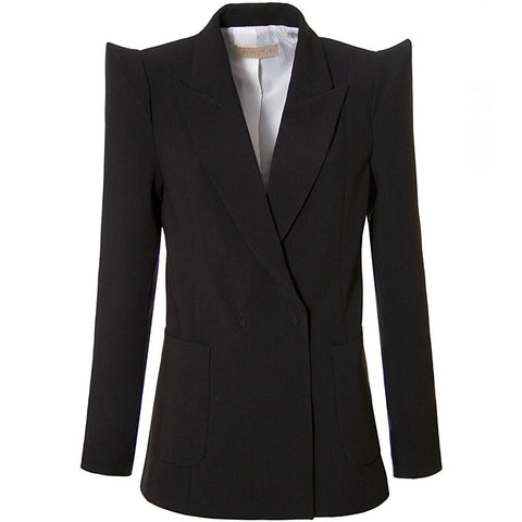 AGGI Futuristischer Blazer mit akzentuierter Schulterpartie, Blazer mit starken Schultern und breitem Reverskragen, Business Style, Blazer, Women clothing, made in Europe, Eco-friendly, fair, fair trade - shop now - the wearness online-shop - Sustainable and Ethical Luxury Fashion