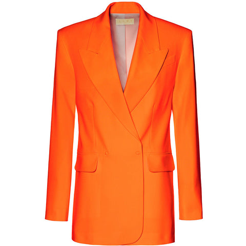 AGGI Blazer, orange, neonorange, Damen, Damenmode, Damenoberbekleidung, Anzug, Business Kleidung, nachhaltiger Blazer, Blazer mit Reverskragen, moderner Businesslook, organic, fair, made in Europe, zero waste, shop now- the wearness onlineshop