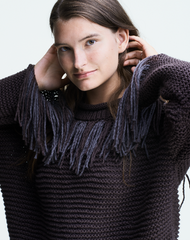 CLAUSSEN Fransenpullover in Braun aus Baumwolle für Damen, Made in Germany, handknitted, fair fashion, sustainable – Onlineshop the wearness