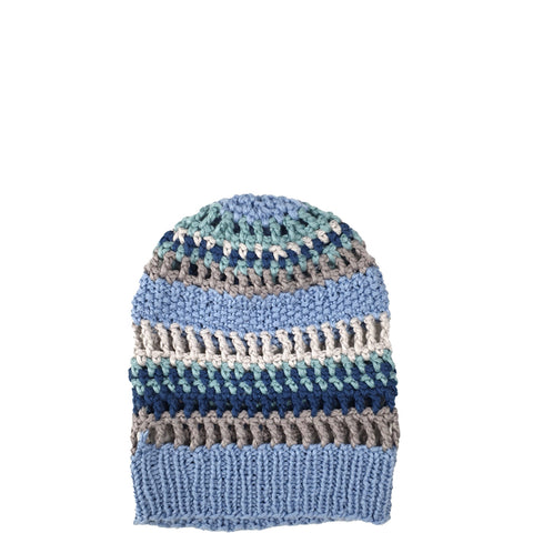 CLAUSSEN - HANDCROCHETED HAT IN AQUA COLOURS  - the wearness