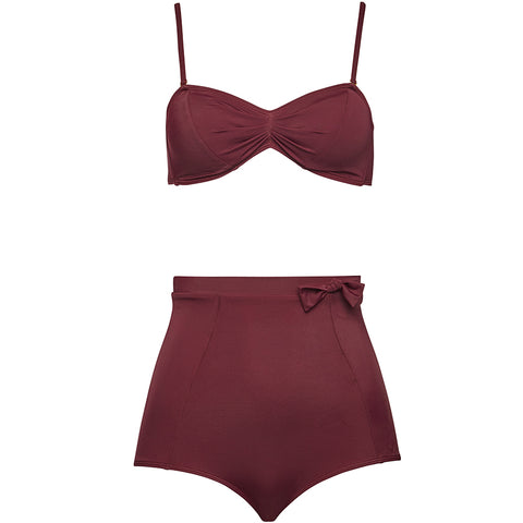 1-9-7-9 SWIMWEAR, Bikini, plum, high waist, modern, figur schmeichelnd, Bademoden, Damen Bademoden, veganer Bikini, fair, organic, vegan, made in Europe, shop now- the wearness onlineshop