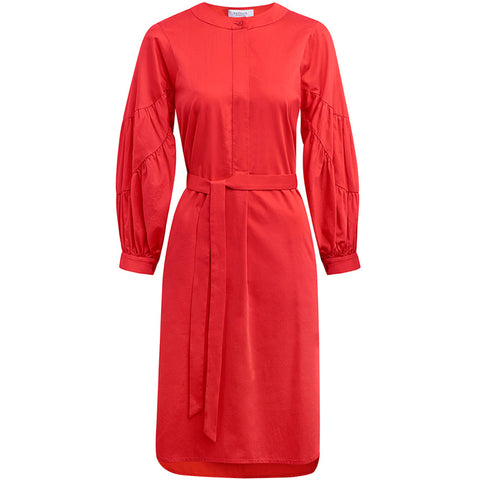 HELLMUTH. Baumwollkleid in Rot mit voluminösen Ärmeln für Damen, handmade, fair, made in Europe, eco-friendly, female empowerment - the wearness online-shop