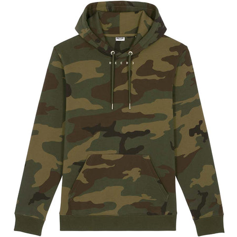 REER3 Unisex Hoodie mit Camouflage Muster, Damen, Männer, Sweater, Hoodie, Homewear, Casual, Sporty, Nachhaltige Mode, Fair trade, Vegan, Made in Europe, Eco-friendly, Organic, Knitwear - shop now - Sustainable & Ethical luxuy fashion - the wearness online-shop