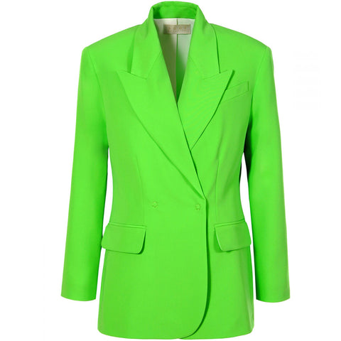 AGGI  Blazer, oversized, neon grün, grün, Damen, Damenmode, Damenoberbekleidung, Anzug, Business Kleidung, nachhaltiger Blazer, Blazer mit Reverskragen, moderner Businesslook, organic, fair, made in Europe, zero waste, shop now- the wearness onlineshop