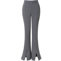 AGGI Schmale Hose mit ausgestelltem Bein in grau, Damenhosen, high-waisted,, Women clothing, made in Europe, Eco-friendly, fair, fair trade - shop now - the wearness online-shop - Sustainable and Ethical Luxury Fashion