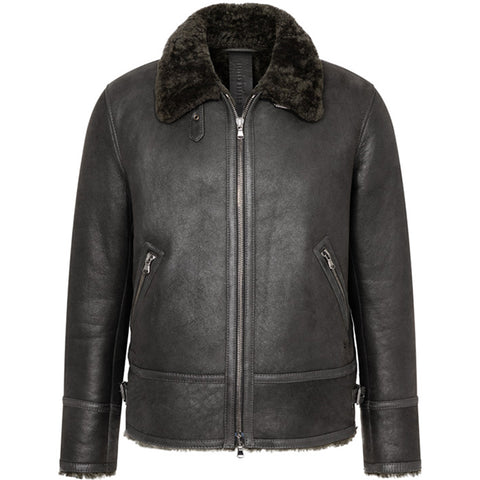 WERNER CHRIST: ROBUST LAMBSKIN PILOT JACKET, BLACK - the wearness