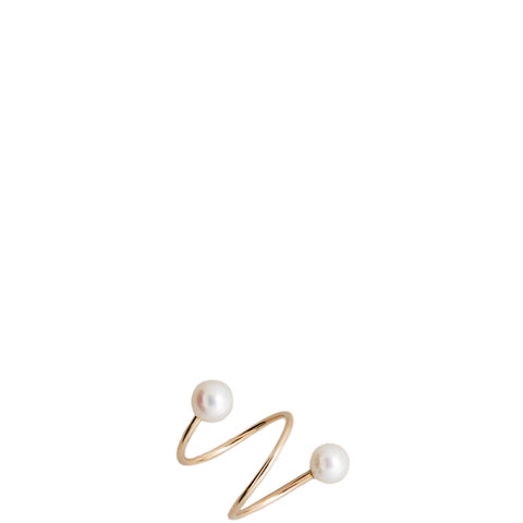 SASKIA DIEZ: Goldener Perlenring in Spiral-Form für Damen, handmade, fair, made in Europe - the wearness online-shop