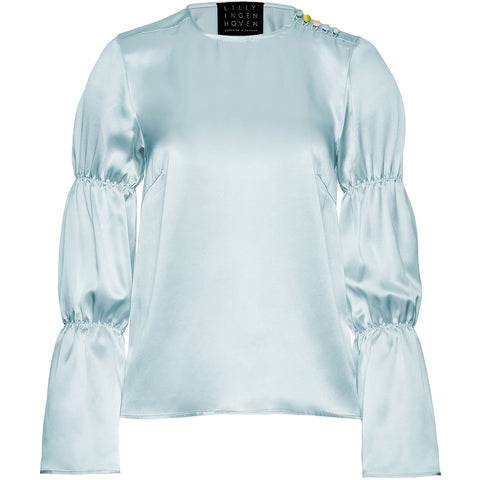 LILLY INGENHOVEN Seidentop mit gerafften Ärmeln in Hellblau, Seidenbluse für Damen, Handcrafted, made in Europe, Organic, Eco-friendly, fair - Shop now - the wearness online-shop
