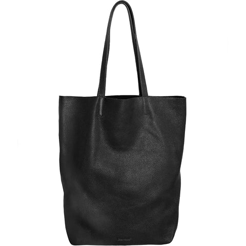 BLACK LEATHER TOTE MADE OF ORGANIC COW LEATHER