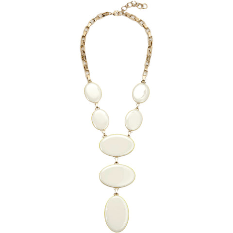 XENIA BOUS OVAL NECKLACE IN WHITE  - the wearness