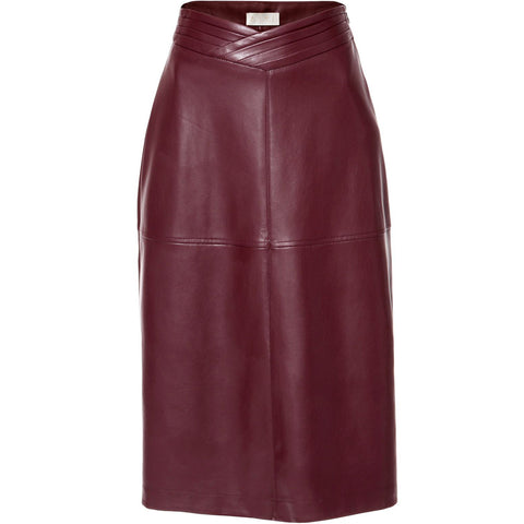 AGGI SKIRT IN WINE RED, WOMEN, FAIR, VEGAN LEATHER - the wearness
