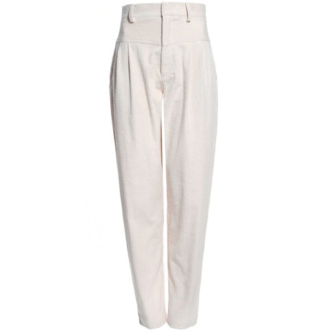 AGGI  High-waisted Kordhose, Helle Damenhose, Kord, Cream weiß, Women clothing, made in Europe, Eco-friendly, fair, fair trade - shop now - the wearness online-shop - Sustainable and Ethical Luxury Fashion