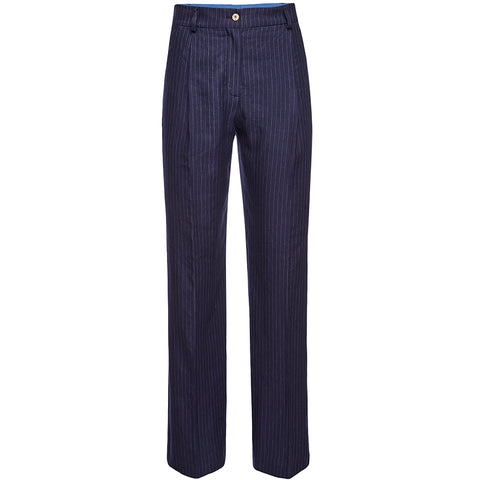 THE BLUE SUIT: Marlenehose mit Pinstripes für Damen in dunkelblau, weit geschnittene Hose mit geradem Bein, handmade, eco-friendly, made in Europe, vegan, organic, jeans - the wearness online-shop