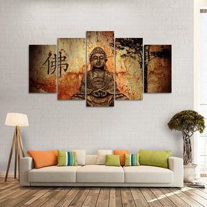 "5 Pieces Decorative 3D Painting ""Meditating Buddha"""