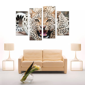 "4 Pieces Decorative 3D Painting ""Leopard's Attack Position"""