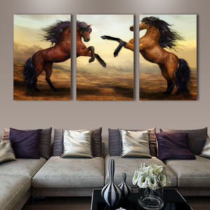 "3 Pieces Decorative 3D Painting ""Horse's Encounter"""