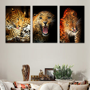 "3 Pieces Decorative 3D Painting ""Leopard's Mood"""