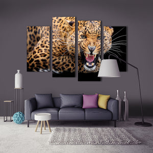 "4 Pieces Decorative 3D Painting ""Leopard's Growl"""