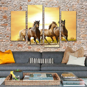 "4 Pieces Decorative 3D Painting ""Adventurous Horses"""