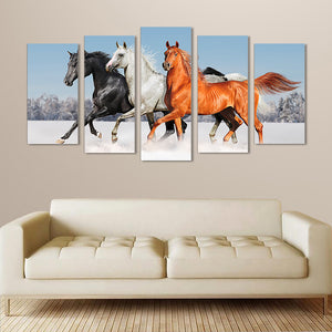 "5 Pieces Decorative 3D Painting ""Glamorous Wild Horses"""