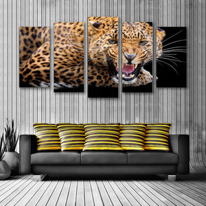 "5 Pieces Decorative 3D Painting ""Leopard's Fury"""