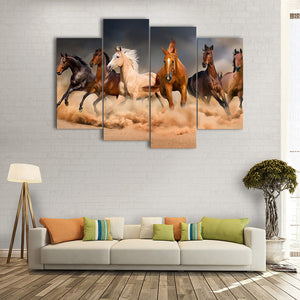 "4 Pieces Decorative 3D Painting ""Wild Horses"""