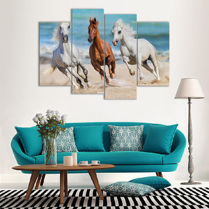 "4 Pieces Decorative 3D Painting ""The Playful Horses"""