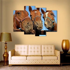 "4 Pieces Decorative 3D Painting ""Amused Horses"""