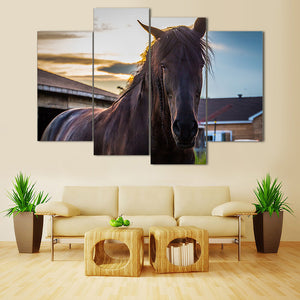 "4 Pieces Decorative 3D Painting ""Bay Horse"""